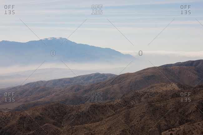 View of craggy mountains in Joshua Tree National Park, USA