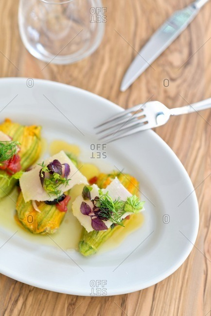 Zucchini flowers filled with ricotta and bouchees