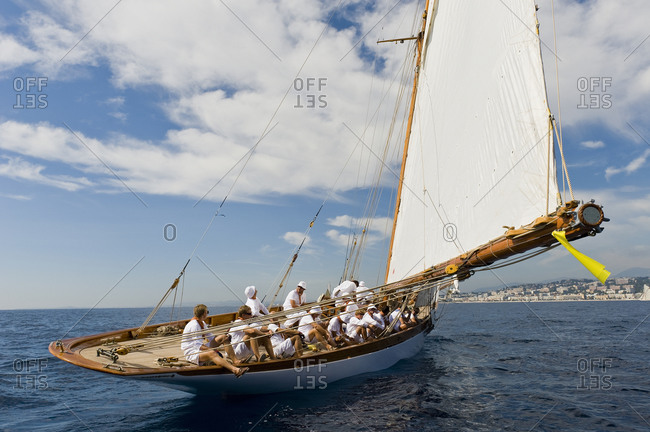 Nice, France - September 16, 2010: A regatta sails through the waters off Nice