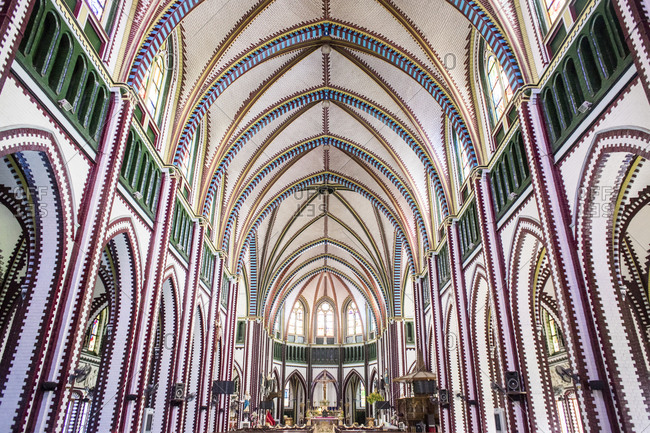 Central Yangon, Burma - September 21, 2014: Interior of a St Mary's Cathedral