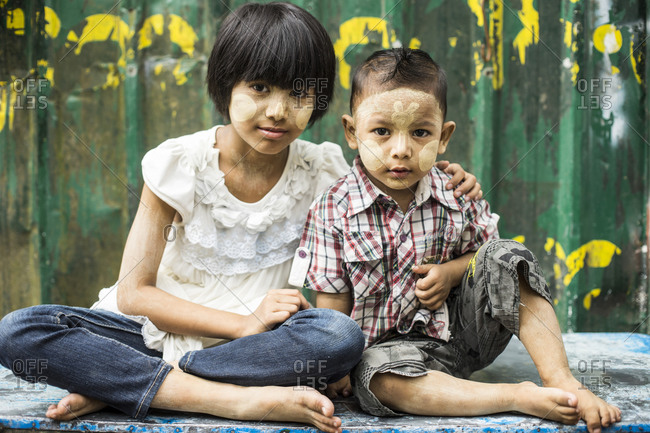 Yangon, Burma - September 21, 2014: Two children with face paint