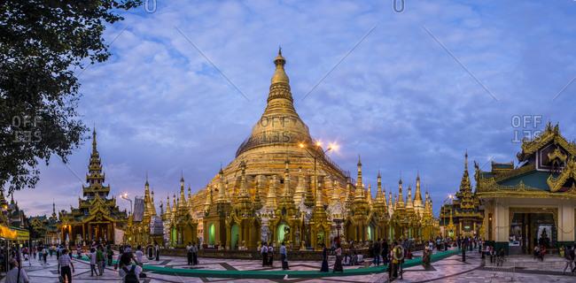 Yangon, Burma - September 22, 2014: A Buddhist temple in Burma