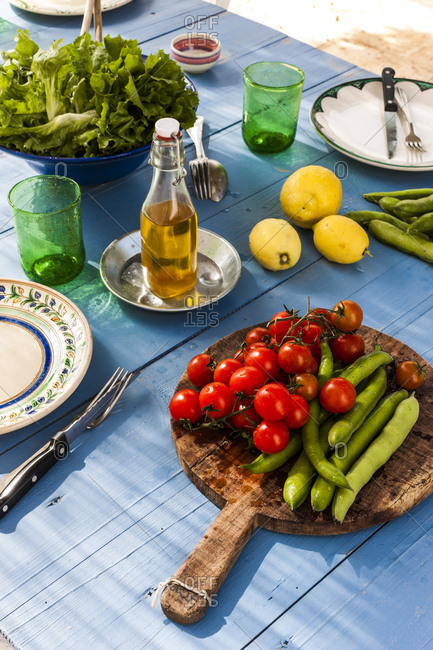 Table with picnic food in Puglia, Italy