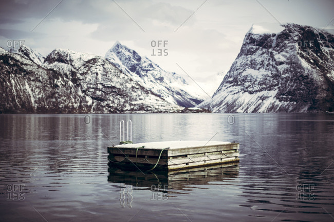 Bathing platform and ladder in Norway at winter
