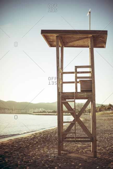 Empty lifeguard tower on a beach