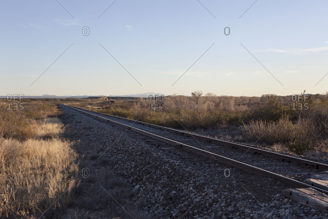 View of train tracks in the countryside
