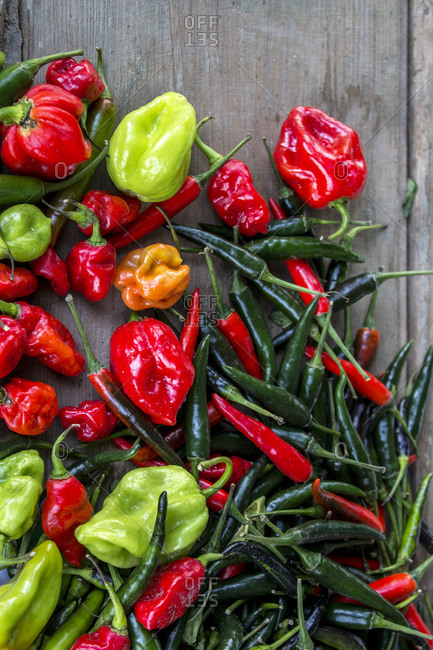 Various spicy peppers from above
