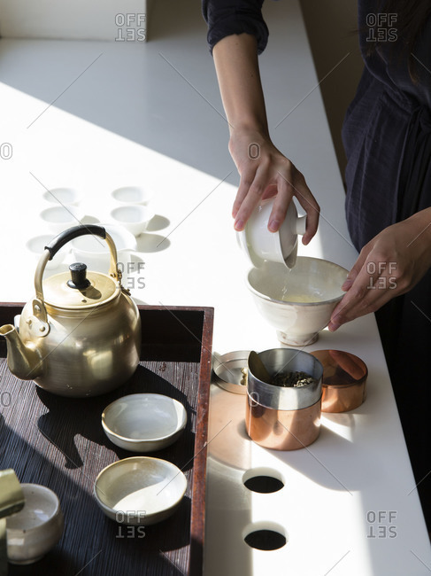 First pouring the tea at Gongfu tea ceremony