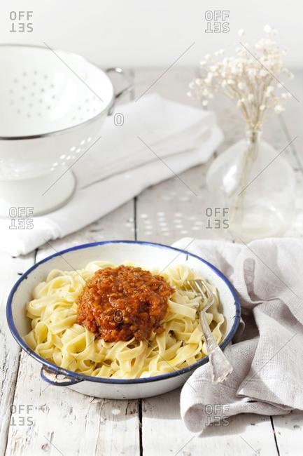 Handmade pasta with ragout sauce