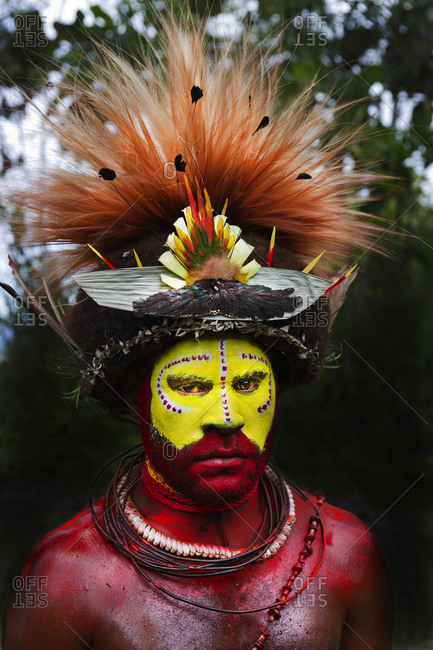 Southern Highlands, Papua New Guinea - August 12, 2011: Portrait of a Huli Wigman in Southern Highlands of Papua New Guinea