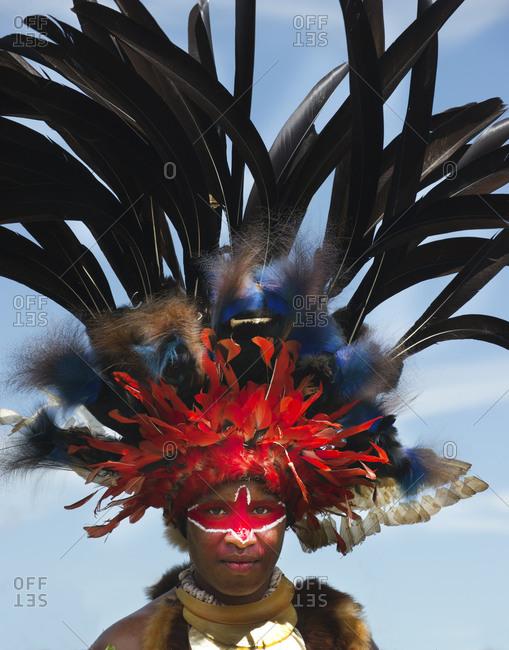 Western Highlands, Papua New Guinea - August 14, 2011: Portrait of a Jiwaka tribesman in Western Highlands in Papua New Guinea