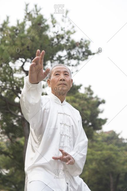A man doing Tai Chi postures outside