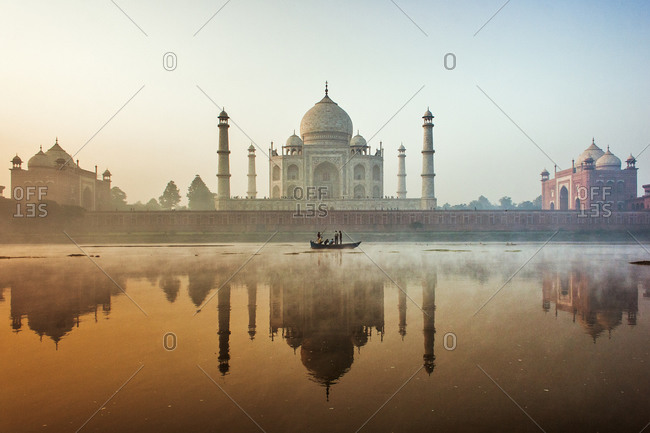 View of the Taj Mahal at sunset in Agra, India