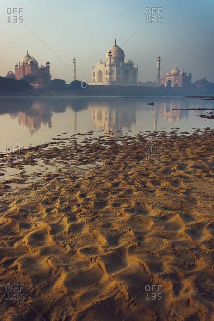 Bank of the river Yamuna at the Taj Mahal in Agra, India