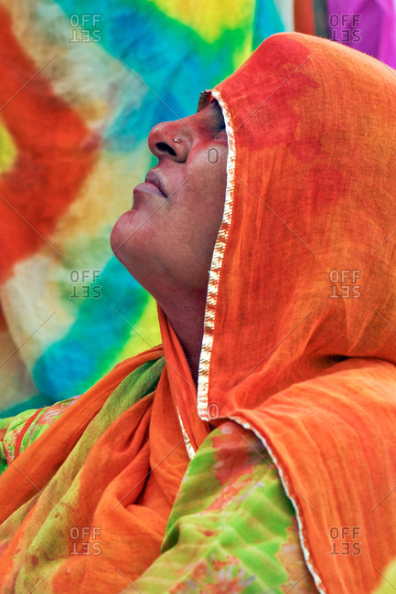 Braj, Uttar Pradesh, India - March 5, 2009: Woman at the Braj Holi festival