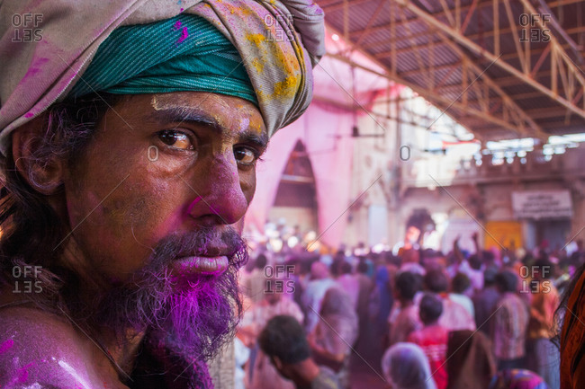 Braj, Uttar Pradesh, India - March 5, 2009: Portrait of a serious man at the Braj Holi festival
