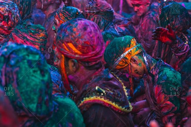 Braj, Uttar Pradesh, India - March 6, 2009: People covered with paint at the Braj Holi festival