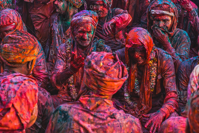 Braj, Uttar Pradesh, India - March 6, 2009: People at the Braj Holi festival