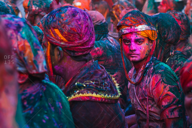 Braj, Uttar Pradesh, India - March 6, 2009: People covered with colors at the Braj Holi festival