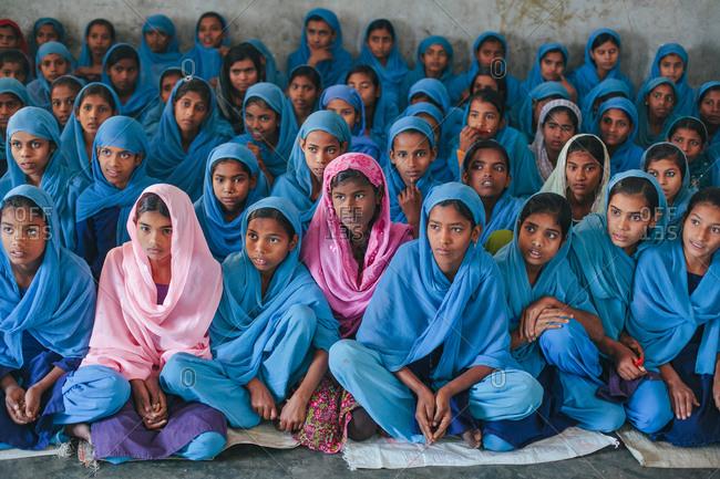 Bettiah, Bihar, India - November 15, 2012: Students in a government school