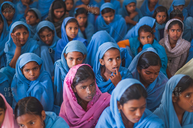 Bettiah, Bihar, India - November 15, 2012: Girls in a government school