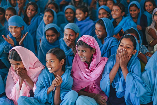 Bettiah, Bihar, India - November 15, 2012: Girls smiling in a government school