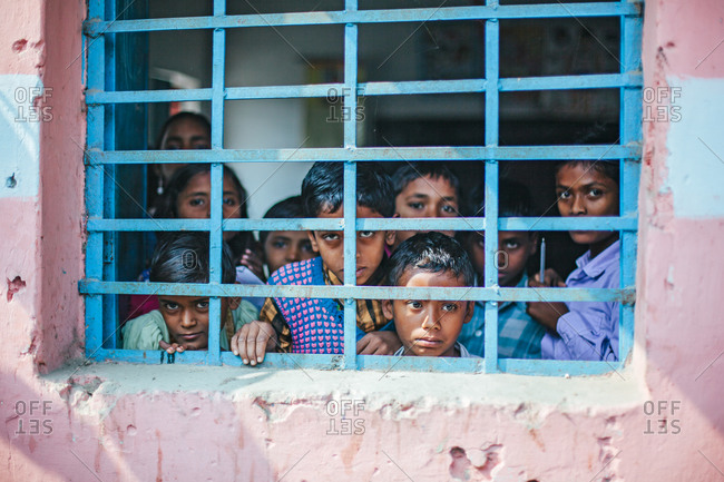 Bettiah, Bihar, India - November 15, 2012: Boys staring out of a government school