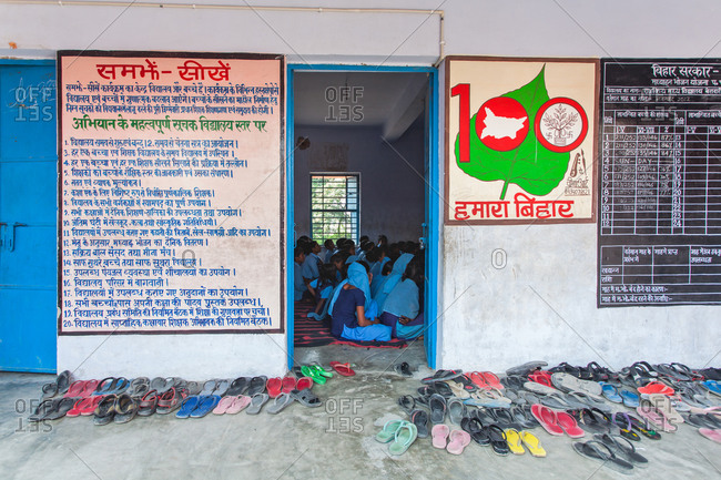 Bettiah, Bihar, India - November 15, 2012: Children studying in a classroom of a government school
