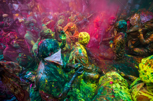 Mathura, Uttar Pradesh, India - February 23, 2010: People at the Braj Holi celebration in Vrindavan
