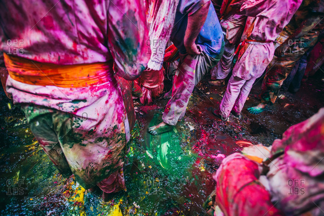 Mathura, Uttar Pradesh, India - February 23, 2010: People soaking in colors at the Braj Holi festival