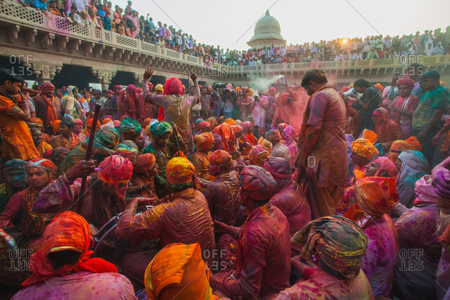 Mathura, Uttar Pradesh, India - February 24, 2010: Crowd at the celebration of Nandgaon Holi