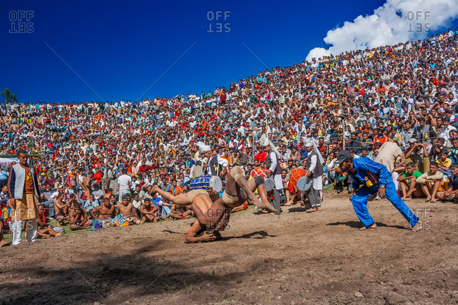 Fagu village, Himachal Pradesh, India - September 28, 2008: People at a Himalayan wrestling match