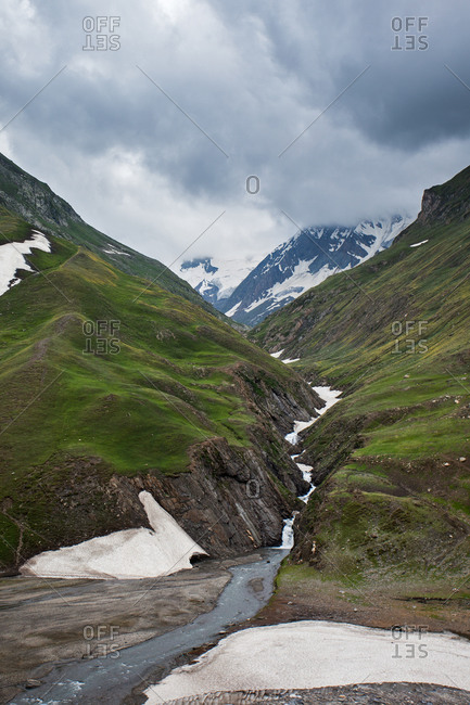 Landscape of a mountain stream in Dras in Jammu and Kashmir, India