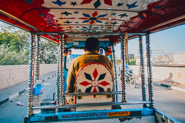 Inside the Auto rickshaw, a common mode of public transport in Jodhpur