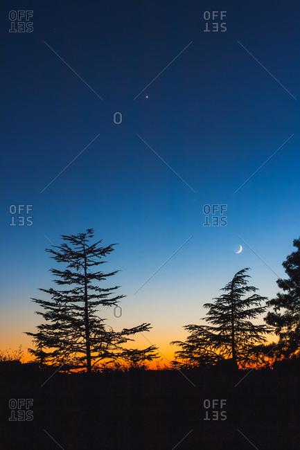 Waxing Crescent and Venus at night, India
