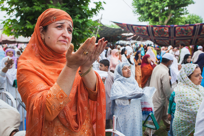Hazratbal, Srinagar, Jammu & Kashmir, India - July 8, 2011: Devotees converged for peace prayers at the famous Muslim shrine of Hazratbal
