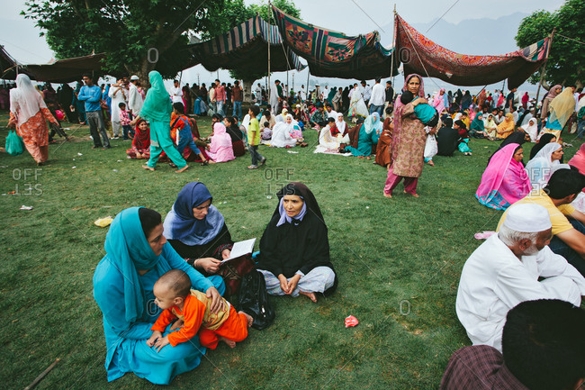 Srinagar, Jammu & Kashmir, India - July 8, 2011: Kashmir people gathering at an event