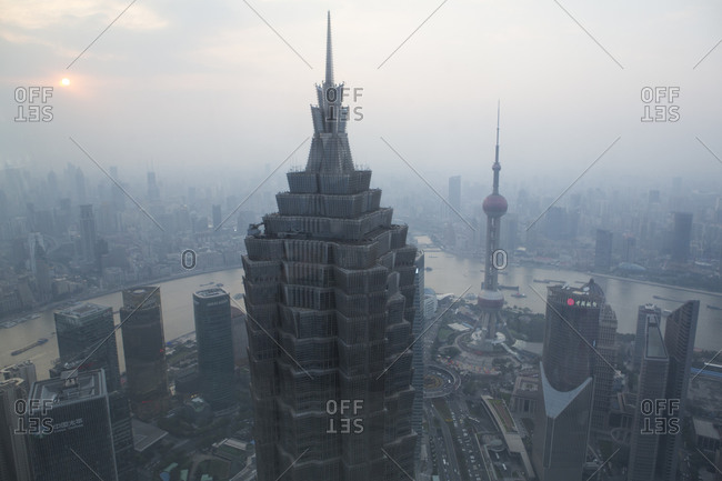 View of the city from near the top of the Jin Mao Tower, Pudong, Shanghai