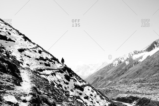 Man hiking in the Himalayas