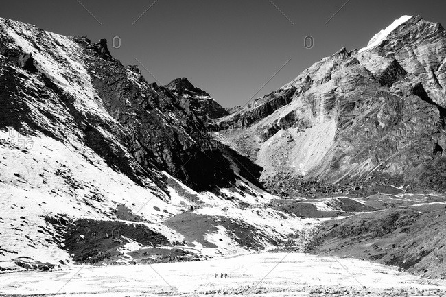 Landscape of snow-covered mountains in the Himalayas