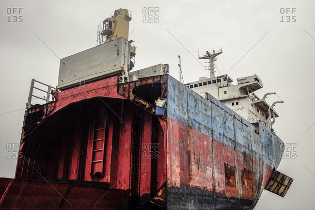 Low angle view of cargo ship