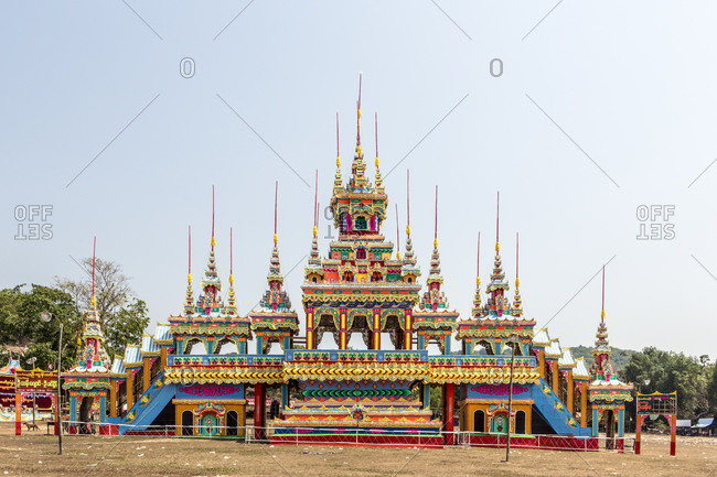 A colorful building in Burma