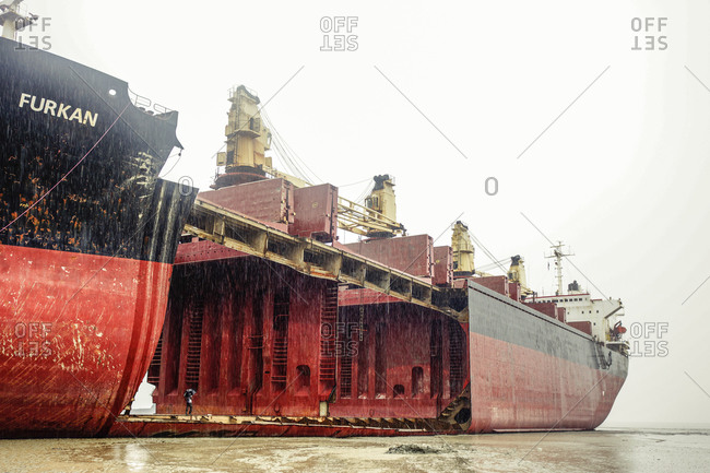 Turkey - October 26, 2013: Low angle view of cargo ship