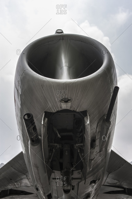 Close up of a jet engine cowling stock photo - OFFSET