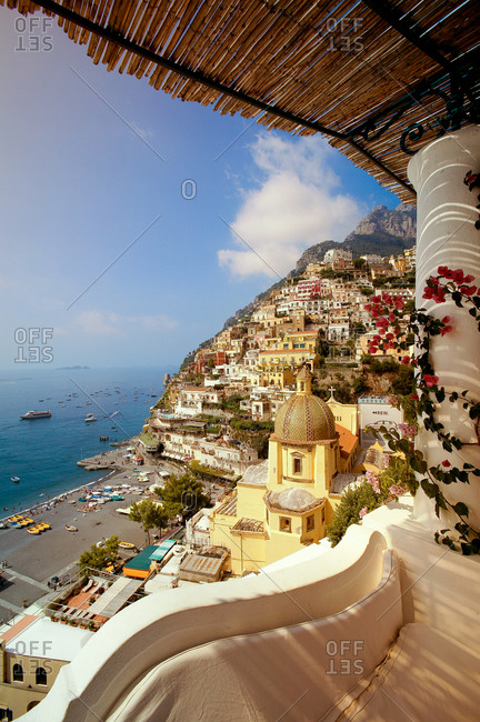 Buildings on the coast in Positano, Italy