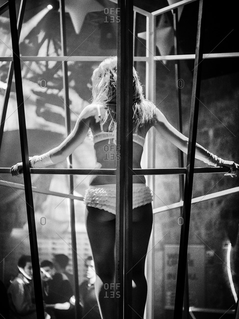 Cage dancer in a night club