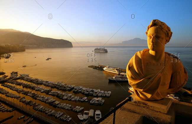 View of a statue at sunrise in Sorrento, Italy
