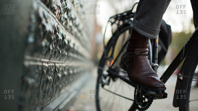 Close up of man's foot on bike pedal