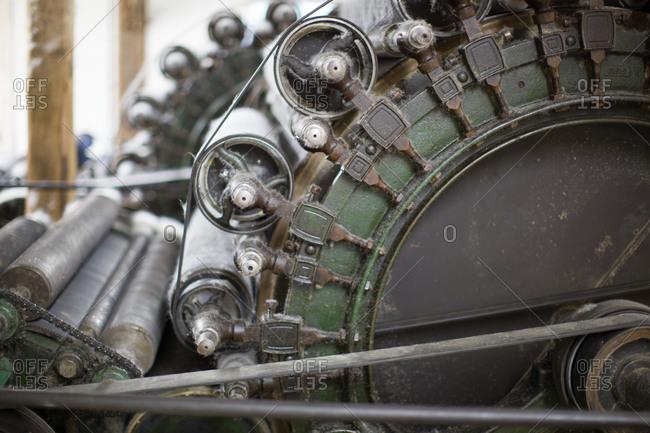 Close up of wool mill machine