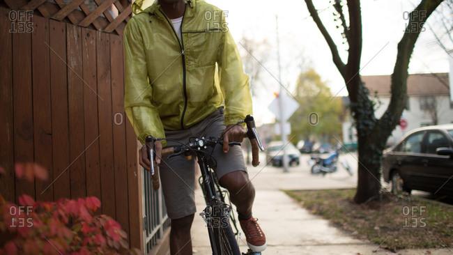 A man rides a bike